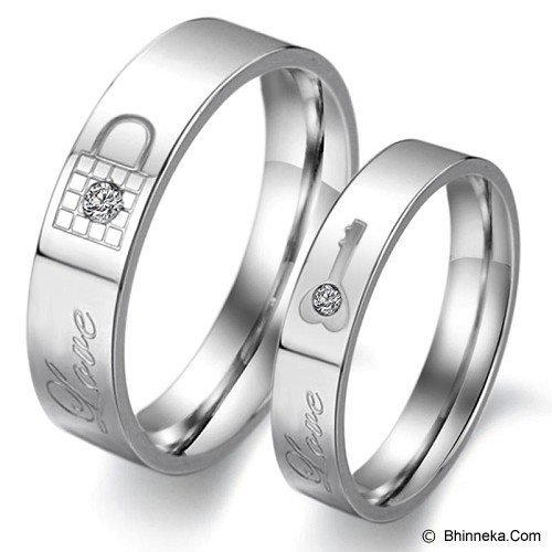 TITANIUM RING Cincin Couple Size 7(F) & 8(M) [GS235] - White & White - Cincin